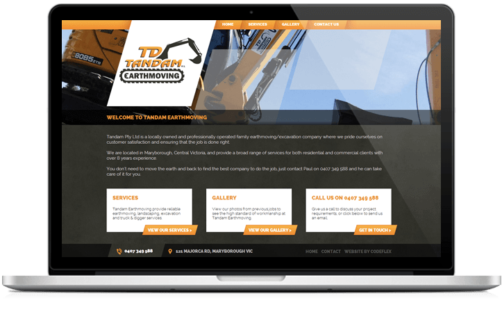 TD Tandam Earthmoving Maryborough Website Design